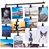 Hanging Picture Display Photo Holder with Strings and 20 Magnetic Clips Metal Black