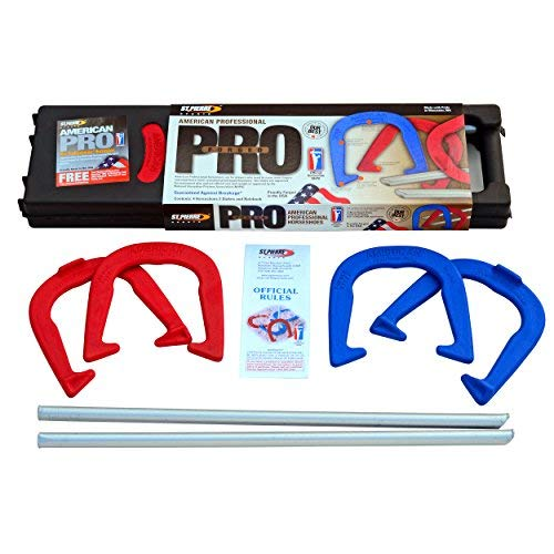 St. Pierre American Professional Series Horseshoes Complete Set: Includes 4 Horseshoes, Solid Steel Stakes, and Rule Book. by St. Pierre