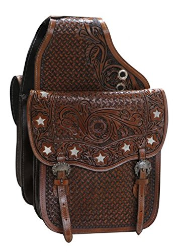 (Showman Tooled Medium Oil Leather Saddle Bag w/Cut Out Stars & Genuine Cowhide! NEW HORSE TACK!)