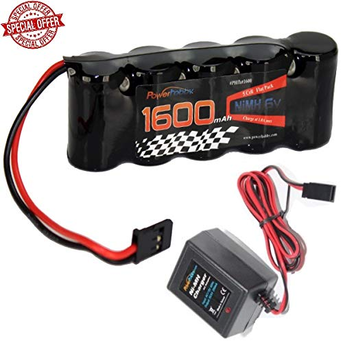 Powerhobby 5 Cell 6V 1600mAh NiMH Flat Receiver Battery Pack with Charger