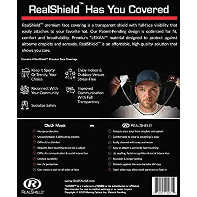 RealShield Face Covering Adult Size 4 Pack