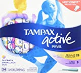 Tampax Pearl Active Plastic Tampons, Duopack, Light/regular Absorbency, Unscented, 34 Count