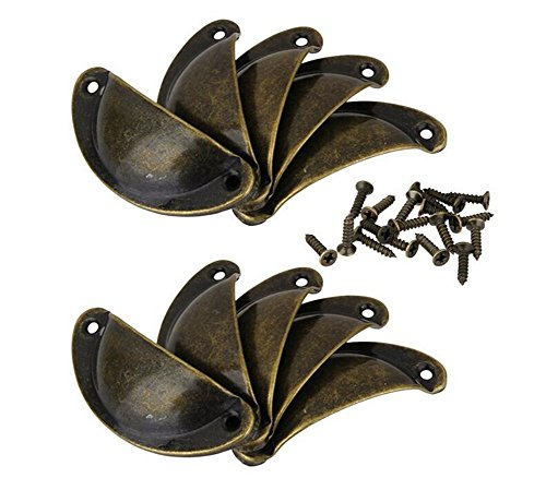 Vintage Door Cabinet Knob Drawer Shell Cup Door Pull Handle Bronze Pack of 10 (Ancient Bronze Cup Pull)