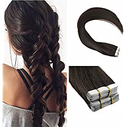 Ugeat 16 inch Dark Brown Skin Weft Tape in Remy Human Hair Extensions Straight Glue in 100% Real Hair Extensions 40 pcs/100g