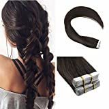 Ugeat 22 inch Dark Brown Skin Weft Tape in Remy Human Hair Extensions Straight Glue in 100% Real Hair Extensions 40 pcs/100g