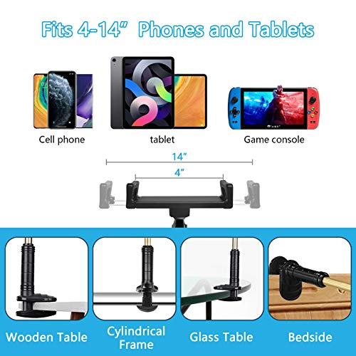 cshare Adjustable Tablet Stand Holder, Flexible Lazy Phone Tablet Mount Bracket Clamp, Swing Arm Kids Fire Tablet Stands for Bed Desk Kitchen Compatible with 12.9 iPad Pro, Samsung, Kindle, NS
