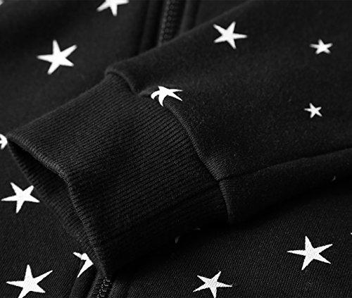BAISHENGGT-Sudadera para Mujer de Algodón con Capucha Negro N2
