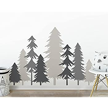 3 color pine tree forest wall decals tree wall decals forest mural forest scene decals large