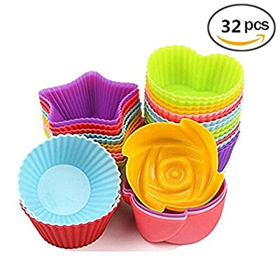 Jelacy 32 Pieces Cupcake Liners Silicone Baking Cups Cupcake Molds Muffin Liners Cups for Baking