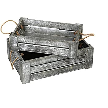 MyGift Decorative Whitewashed Gray Nesting Storage Crates with Twisted Rope Handles, Set of 2