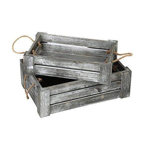 MyGift Decorative Whitewashed Gray Nesting Storage Crates with Twisted Rope Handles, Set of 2 ()