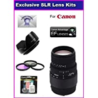 Sigma 70-300mm f/4-5.6 DG Macro Telephoto Zoom Lens For Canon Rebel XT XTi 350D 400D 50D XSI XS T1I T2I 5D 10D 20D 30D 450D With Complimentary Accessory Package Includes 3 Piece Filter Kit, lens Hood + 6 Year Extended Lens Warranty + More Basic Intro Review Image