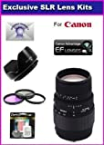 Sigma 70-300mm f/4-5.6 DG Macro Telephoto Zoom Lens For Canon Rebel XT XTi 350D 400D 50D XSI XS T1I T2I 5D 10D 20D 30D 450D With Complimentary Accessory Package Includes 3 Piece Filter Kit, lens Hood + 6 Year Extended Lens Warranty + More