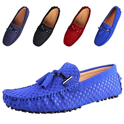 Santimon Herren Schuhe Hausschuhe Slipper Mokassins Casual Business Leder  Bummler Fahren Woven Quaste Halbschuhe Blau d114e9aa44