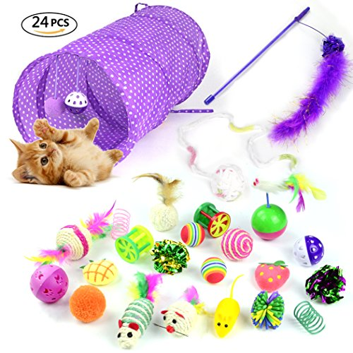 Whoobee 24PCS Cat Toys Kitten Toys Assortments,Variety Pack for Catnip Toy, Cat Tunnel, Bell Crinkle Balls, Feather Wand, Cat Teaser Toy and Spring, Cat Toys Set for Cat, Puppy, Kitty, Kitten