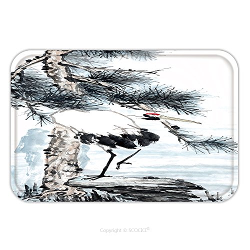 Paintings Crane Gallery (Flannel Microfiber Non-slip Rubber Backing Soft Absorbent Doormat Mat Rug Carpet Crane Bird Chinese Meaning Longevity Traditional Chinese Ink Painting 422305954 for Indoor/Outdoor/Bathroom/Kitchen/Wor)