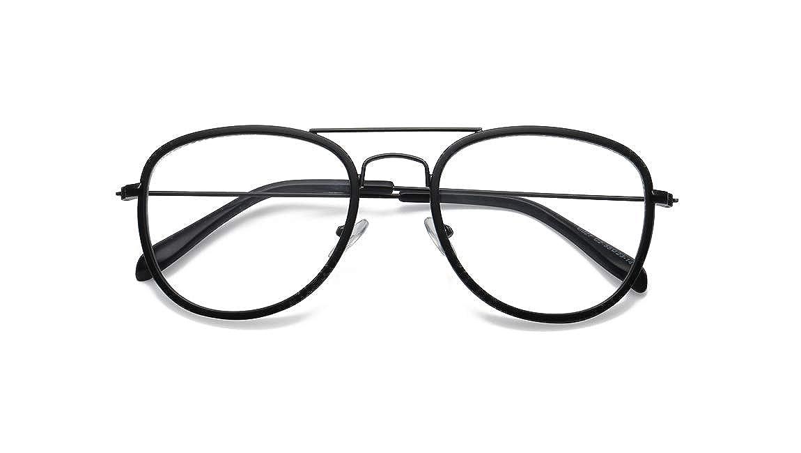 JIUPO Unisex Pilotenbrille Klassische Brille Ohne Sehst/ärke Retro Transparente Brille mit Fensterglas