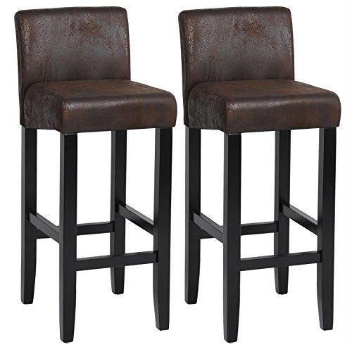 Woltu® # 787–Taburete de bar de piel artificial sentadas patas de madera maciza–Juego de 2, Look en piel antigua, Noir Look en cuir antique, 2 unidades