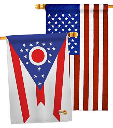 """Ornament Collection HP191536-P3AB Ohio Americana States Impressions Decorative Vertical 28"""" x 40"""" USA - Applique House Flags Pack"""