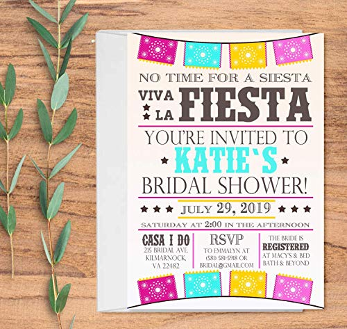 (Fiesta Bridal Shower Invitations with Envelopes - Fiesta Party Invitations - Set of 10)