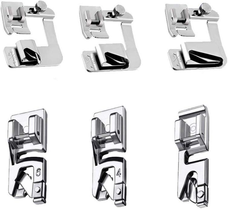 EXCEART 1 Juego / 6 Piezas Kit de Pie de Dobladillo Máquina de Coser Prensatelas Dobladillo para Máquina de Coser de Vástago Bajo Uso Prensatelas de Dobladillo Enrollado