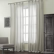 """IYUEGO Classic Cotton Linen Blend Stripe Jacquard Sheer Curtains Double Pleated Top With Custom Multi Size 50"""" W x 102"""" L (One Panel)"""