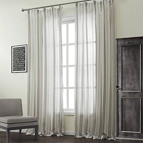 (IYUEGO Classic Cotton Linen Blend Stripe Jacquard Sheer Curtains Double Pleated Top with Custom Multi Size 50