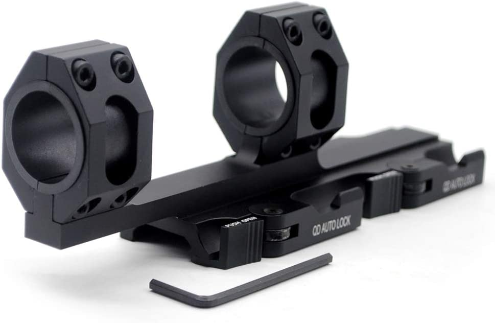 2-Inch Offset Quick Release//Detach TRIROCK 1-Piece 30mm//25.4mm QR//QD 1 - for Weaver//Picatinny Rails Tactical Cantilever Scope Mount w//Picatinny Tops and Bubble Level