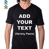 Custom V-Neck t Shirts Ultra Soft Add Your Text for Men & Women Unisex Cotton T Shirt [Black/S]
