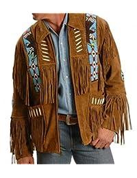 Mens Western Cowboy Suede Leather Jacket Coat with Fringe 13