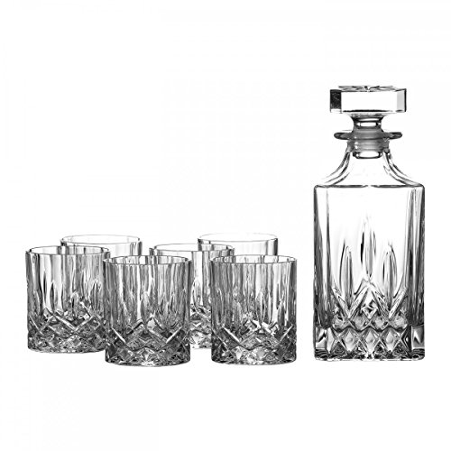 Royal Doulton Crystal 28 Ounce Decanter Set with Six 11-Ounce Bar Drinking Glasses, Lead Free -