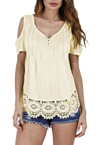 OMZIN Womens Fall Tunic Prime Youth Shirt Ruched Swing Comfort Blouse Beige S ()