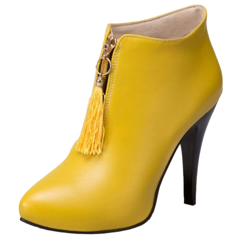 COOLCEPT Femmes Bottines De Cheville B076DFKHN3 Aiguille 19929 Courte yellow Bottes Fermeture Eclair yellow b20424e - jessicalock.space
