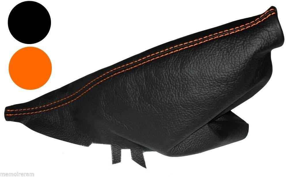 Soufflet de Frein /à Main Noir en 100/% Cuir v/éritable Coutures Oranges AERZETIX