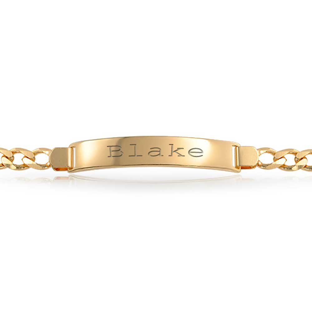 Bling Jewelry Personalized Cuban Curb Identification ID Bracelet for Men for Women 180 Gauge 18K Gold Plated Brass Custom Engraved
