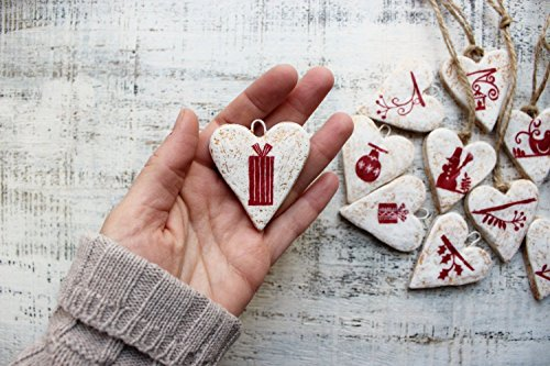 Set of 5 Christmas ornaments Christmas decoration rustic cottage chic shabby chic red white gold Scandinavian Scandi 210817-3