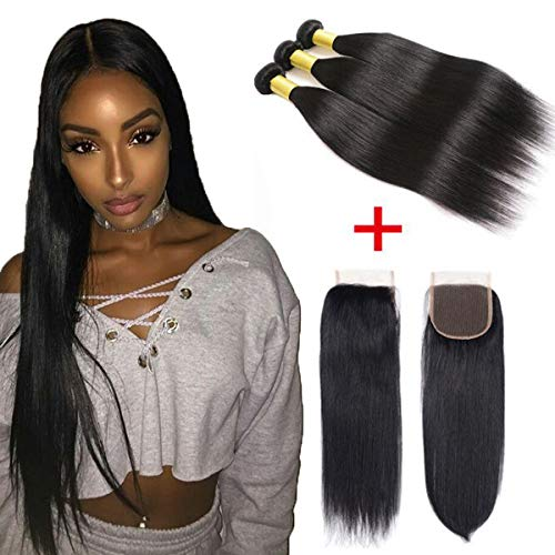 Brazilian Straight Virgin Human Hair 3 Bundles With Closure Human Hair Weave Extensions With 4X4 Lace Closure(14 16 18 with 12)