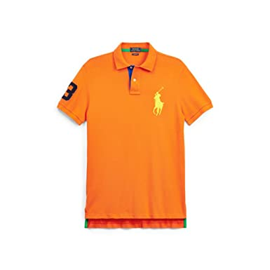 Polo Ralph Lauren Mens Custom Fit Big Pony Mesh Polo Shirt - S - Orange