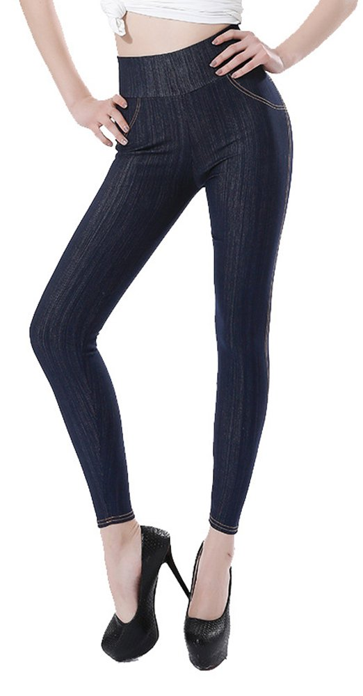 Sipaya Women's High Waist Jeans Leggings Denim Printed Stretchy Jeggings S-2XL Sip-BOKD