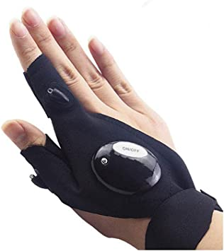 1 Pair Finger Gloves with LED Light Flashlight Tools Outdoor Gear Rescue Torch