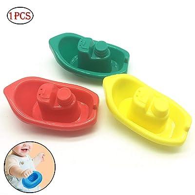 1 PC del baño del bebé juguetes de dibujos animados bote de plástico Juguetes para el baño Piscina lancha rápida de juguetes bañera Juguetes para niños y niñas Juguetes (color al azar): Bebé