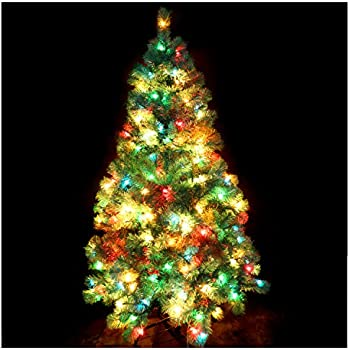 casa clausi christmas tree 5 feet pre lit multi colored lights artificial green madison - Multi Colored Christmas Trees