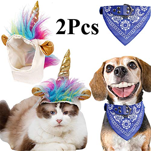 2 Pack Unicorn Costume for Cats Small Dogs Pet Costume with Free Bandana for Small Dogs Cats Cosplay Costumes for Pets Halloween Dress up Accessories Party Costume