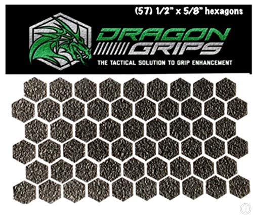 (Dragon Grips Black hexagon grip tape stickers 57 pc tactical rubber)