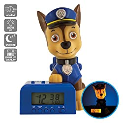 Bulb Botz Paw Patrol 2021302 Chase Kids Night Light Alarm Clock with Characterised Sound   blue/brown   plastic   5.5 inches tall   LCD display   boy girl   official