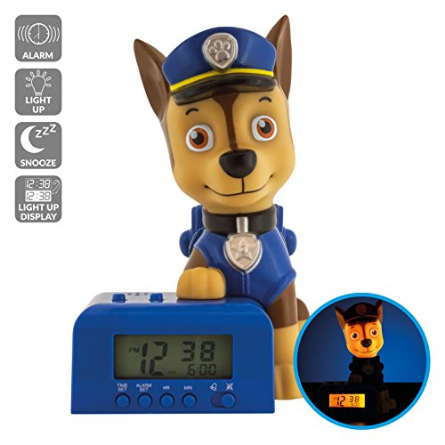 BulbBotz Paw Patrol Chase Kids Night Light Alarm Clock with Characterized Sound | blue/brown| plastic | 5.5 inches tall | LCD display | boy girl | official