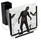 Anglo Arms 14 X 14Cm Funnel Pellet Trap Catcher Mountable Target Holder + 100 Paper Square Zombie Targets For Air Rifles Guns And Airsoft