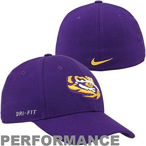 LSU Tigers Football Nike Legacy Swoosh Flex Fit Hat Size OSFA Purple & Gold Cap - Best Fits 7 through 7 5/8