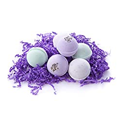 Bath Bomb Gift Set w/ Lavender, Coconut Milk & Lavender and Lavender Chamomile Scented Fizzies Bath Balls | Set of 6, Handmade in USA From Melrose Soaps