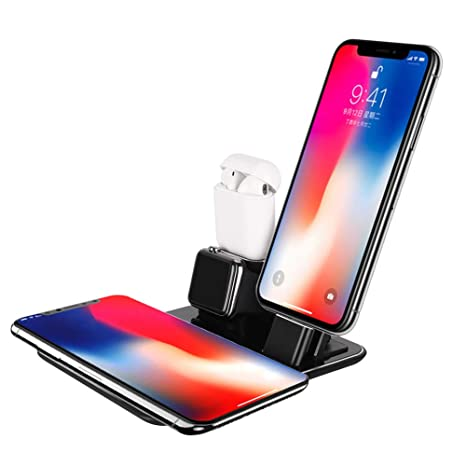 Besteffie Cargador inalámbrico Soporte Apple Watch Airpods estación de Carga, 4 en 1 Docks 10W Carga rápida para Airpods/Apple Watch Series 3/2/1 ...